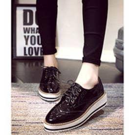 オックスフォードシューズ 厚底靴 (ブラック)