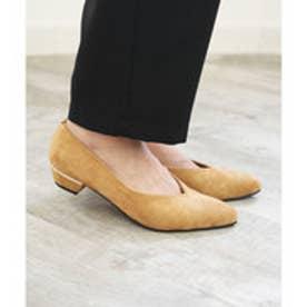 Vカットパンプススエードローヒールクッションポインテッド痛くない歩きやすい楽柔らかい疲れない秋冬ブラック黒グレーレオパード豹ベージュ22.525小さいサイ