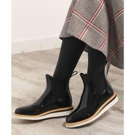 レインブーツ レディース ミドル丈 長靴 シンプル お洒落 防水 雨 雪 ガーデニング PVC サイドゴア (ブラック)