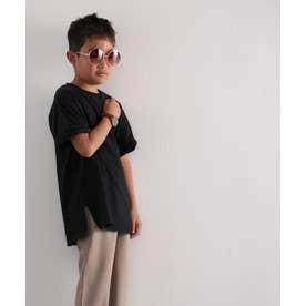 キッズ サイドスリット入りビッグシルエットミドル丈無地Tシャツ(半袖) (ブラック)