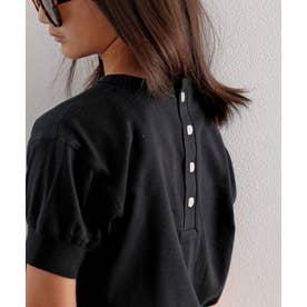 キッズ バックヘンリーネック無地ロングチュニックTシャツ(半袖) (ブラック)