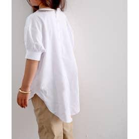 キッズ バックヘンリーネック無地ロングチュニックTシャツ(半袖) (ホワイト)