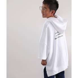 キッズサイドスリット バックロゴ入り無地ワイドプルオーバーパーカー(半袖) (ホワイト)