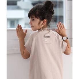 キッズ フレンチラグラン ミドル丈ロゴプリントTシャツ(半袖) (ベージュ)