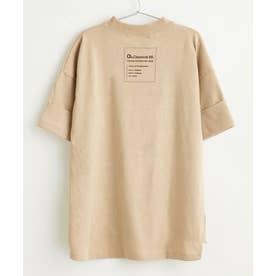 キッズ バックプリント ビッグシルエットロング丈Tシャツ(半端袖) (ベージュ)