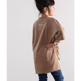 キッズ バックプリント ビッグシルエットロング丈Tシャツ(半端袖) (モカ)
