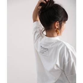 キッズ バックプリント ビッグシルエットロング丈Tシャツ(半端袖) (ホワイト)