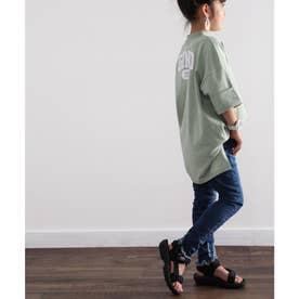 キッズGINOバックプリント クルーネックロング丈ビッグシルエットTシャツ(半端袖) (グリーン)