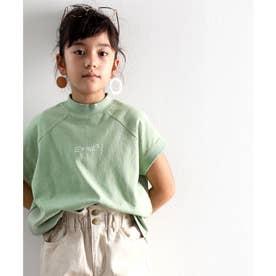 キッズ フレンチラグラン フロントプリントミドル丈クルーネックTシャツ(半袖) (グリーン)