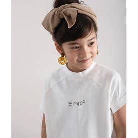 キッズ フレンチラグラン フロントプリントミドル丈クルーネックTシャツ(半袖) (ホワイト)