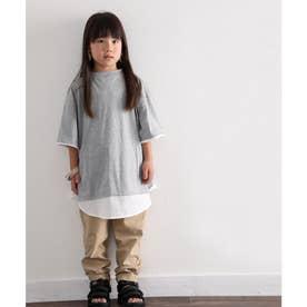 キッズ レイヤード風無地クルーネックTシャツ(半袖) (グレー)