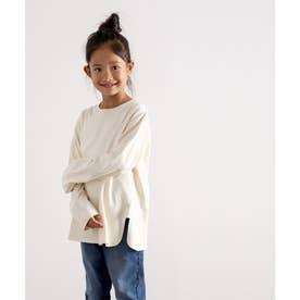 【親子おそろい】キッズ サイドスリット入りビッグシルエットロングTシャツ(長袖) (ベージュ)