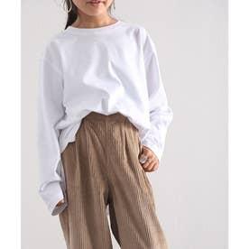 【親子おそろい】キッズ サイドスリット入りビッグシルエットロングTシャツ(長袖) (ホワイト)