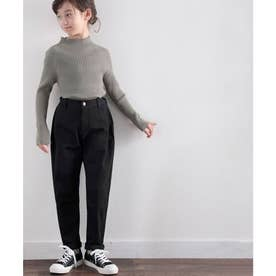 【親子おそろい】キッズ ゆるっと穿くルーズバルーンの無地テーパードパンツ(フルレングス) (ブラック)