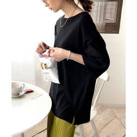 5分袖ビッグサイズボックスカットソー (ブラック)