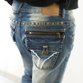 ヴィンテージ風デニム ストレッチ デコジーンズ ジッパー フラップポケット ストレートデニム 男女兼用 ユニセックス 大きいサイズ メンズ レディース (