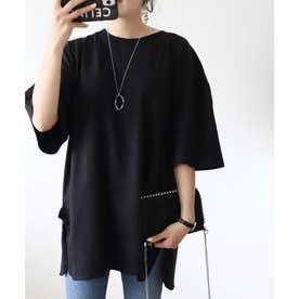サイドスリットのビッグシルエットロング丈クルーネックTシャツ  五分袖 レイヤードアイテム(ブラック)