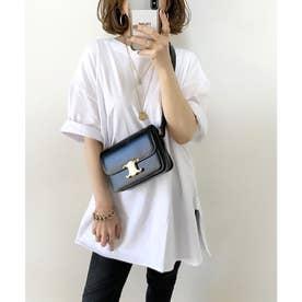 サイドスリットのビッグシルエットロング丈クルーネックTシャツ  五分袖 レイヤードアイテム(ホワイト)