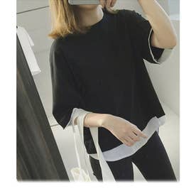 レイヤード風半袖無地ミドル丈クルーネックTシャツカットソー レディース ゆったり 大きい 体型カバー おおきめサイズ (ブラック)