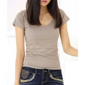 【当店人気アイテム】チビtシャツ 海外セレブ風UネックTシャツ (【Uネック】モカ)