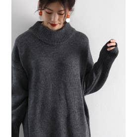 ざっくり可愛いハイネックニット 秋冬 トップス ワンピース セーター 温かい 大きいサイズ (ダークグレー)