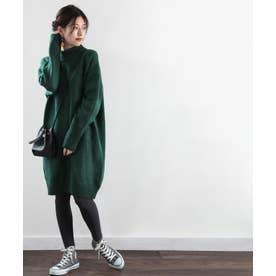 ざっくり可愛いハイネックニット 秋冬 トップス ワンピース セーター 温かい 大きいサイズ (グリーン)