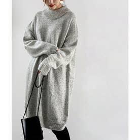ざっくり可愛いハイネックニット 秋冬 トップス ワンピース セーター 温かい 大きいサイズ (ベージュ)
