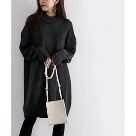 ざっくり可愛いハイネックニット 秋冬 トップス ワンピース セーター 温かい 大きいサイズ (ブラック)