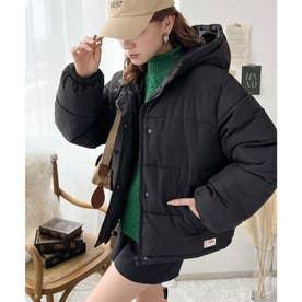 フード付き 軽くて暖かフェイクダウンコート (ブラック)
