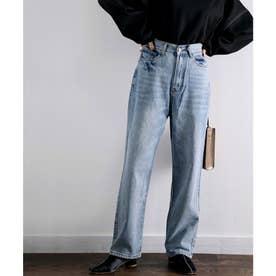 ゆったりジーンズ 大人のゆるデニム サルエル風  古着風の色落ち加工ブルーデニム、ブラックデニム 大きいサイズ、レディース (ブルー)