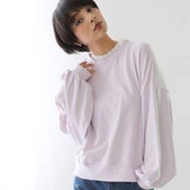 バルーンスリーブ 刺繍ロゴデザイン ガーリー フェイクレイヤード 重ね着風  レディース トップス ライトスウェット (ピンク)