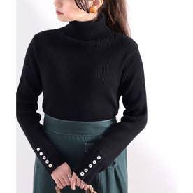 袖ボタン付きリブタートルコットンニット  レディース トップス ハイネック 貝ボタン スタイリッシュ 綿100% 大人 ベーシック 伸縮性 (ブラック)