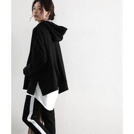 サイドスリットワイドパーカー ガゼット付き ゆったり 大きめ カジュアル トレンド シンプル 無地 重ね着 (ブラック)