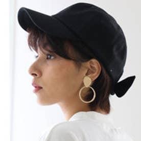 バックリボンキャップ レディース 帽子 リボン ローキャップ 春夏 カジュアルデニム 紫外線対策 日よけ UV (【ブラック】2)