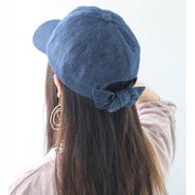 バックリボンキャップ レディース 帽子 リボン ローキャップ 春夏 カジュアルデニム 紫外線対策 日よけ UV (【ダークデニム】7)
