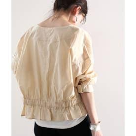 バックギャザーブルゾン 羽織り ライトアウター 薄手 トップス ジャケット 長袖 冷房対策 綿100% (ベージュ)