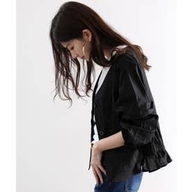 バックギャザーブルゾン 羽織り ライトアウター 薄手 トップス ジャケット 長袖 冷房対策 綿100% (ブラック)