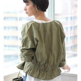 バックギャザーブルゾン 羽織り ライトアウター 薄手 トップス ジャケット 長袖 冷房対策 綿100% (カーキ)