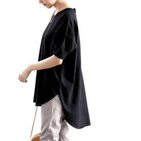 バックヘンリーのゆるTシャツ♪ラウンドヘム&ほんのりパフがキュート ビッグシルエット オーバーサイズ ビッグTシャツ カットソー (ブラック)