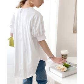 バックヘンリーのゆるTシャツ♪ラウンドヘム&ほんのりパフがキュート ビッグシルエット オーバーサイズ ビッグTシャツ カットソー (ホワイト)