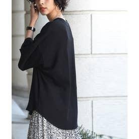 半袖サーマルトップスワッフル生地 ラウンドヘムで後ろ姿キマル オーバーサイズでトレンド感 大き目の袖で華奢見え 嬉しい4色展開 (ブラック)