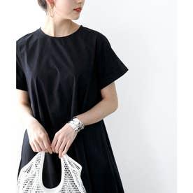 Tシャツマキシワンピース半袖大きいサイズリゾートロングワンピース(ブラック)