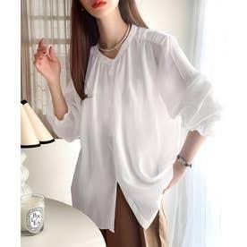ブラウスレディースオフィス長袖大きいサイズギャザーシャツトップス(ホワイト)