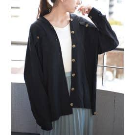 ブラウスレディース長袖開襟シャツカシュクールシャツトップスゆったり大きいサイズオフィスシンプル大人きれいめ冷房対策体系カバー (ブラック)