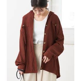 ブラウスレディース長袖開襟シャツカシュクールシャツトップスゆったり大きいサイズオフィスシンプル大人きれいめ冷房対策体系カバー (テラコッタ)