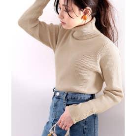 袖ボタン付きリブタートルコットンニット  レディース トップス ハイネック 貝ボタン スタイリッシュ 綿100% 大人 ベーシック 伸縮性 (ベージュ)