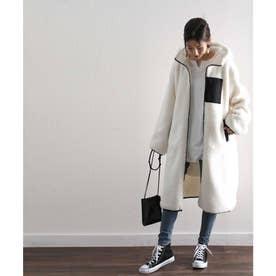 ロング丈ボアブルゾン アウター ブルゾン レディース 上着 もこもこ ロング あったかい 秋 冬 (アイボリー×ブラック)