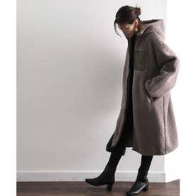 ロング丈ボアブルゾン アウター ブルゾン レディース 上着 もこもこ ロング あったかい 秋 冬 (モカブラウン×カーキ)