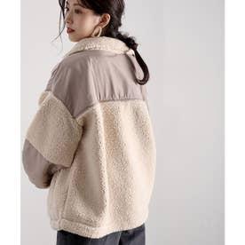 ボアジャケット 配色スタンドカラー ボアブルゾンジップアップ 印象的な後ろ姿 M/Lサイズ8color アイボリー ベージュ グレー ラベンダー パープル