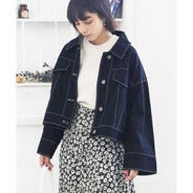 ワイド袖ショートジャケット チノ素材のショート丈ジャケット 3カラー スカートスタイル パンツスタイル サイドスタイル ベージュ カーキ ブラック (ブラ
